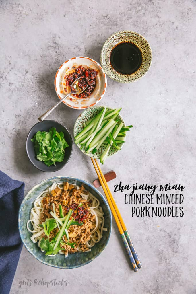 Chinese minced pork noodles zha jiang mian grits and chopsticks zha jiang mian chinese minced pork noodles forumfinder Choice Image