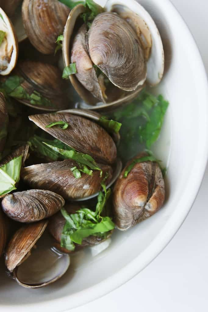 steamed littleneck clams with basil & garlic - Grits ...