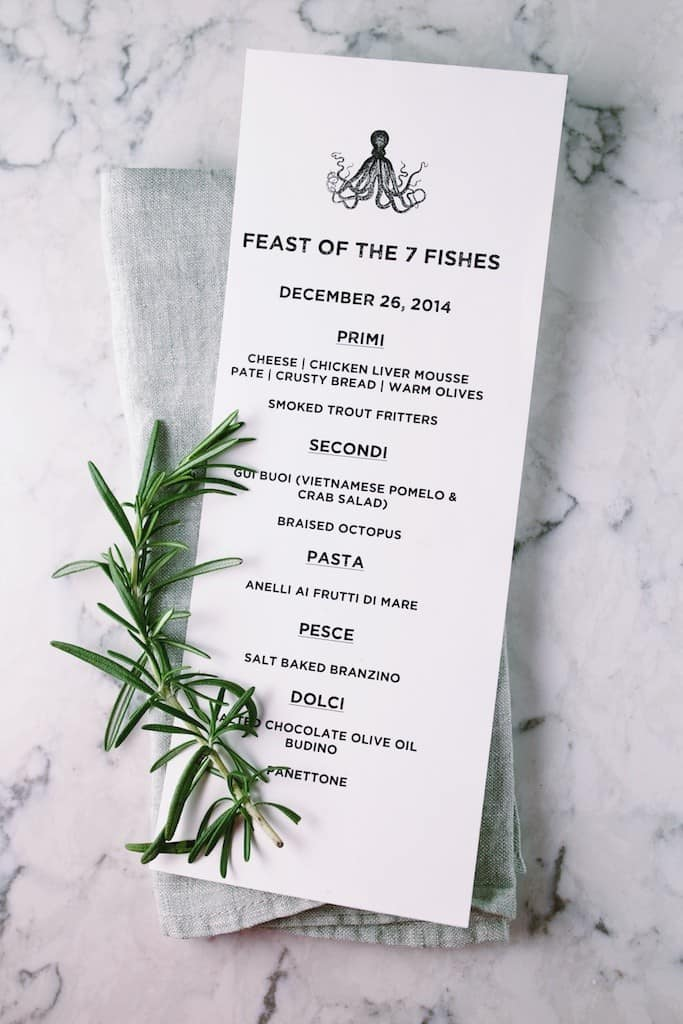 sample menu for a feast of the seven fishes