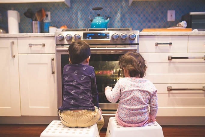 kids waiting for oven