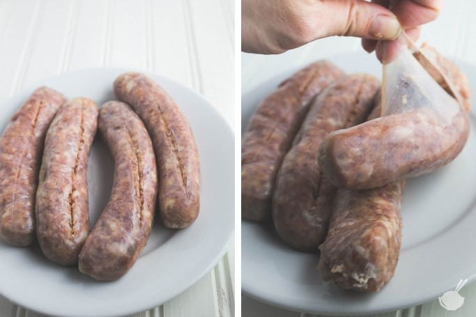 removing sausage from its casing