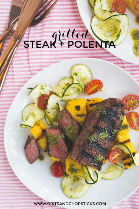 grilled truffle steak and polenta cakes