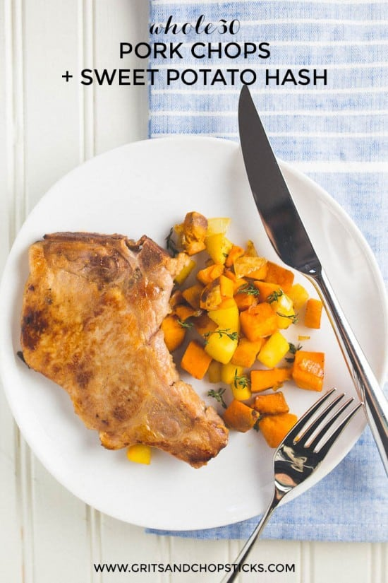 These pan-seared pork chops with sweet potato hash are Whole30 and paleo too!