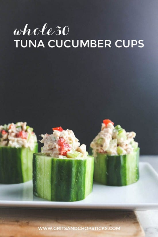 Whole30 tuna cucumber cups are cute, tasty and filling