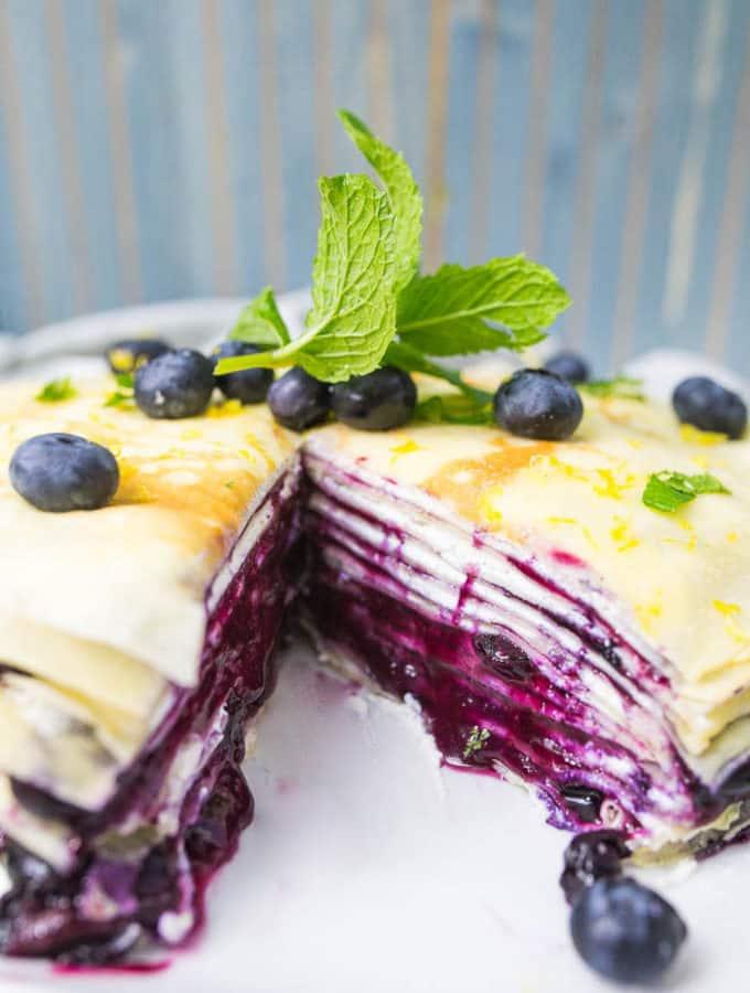 blueberry ricotta crepe cake