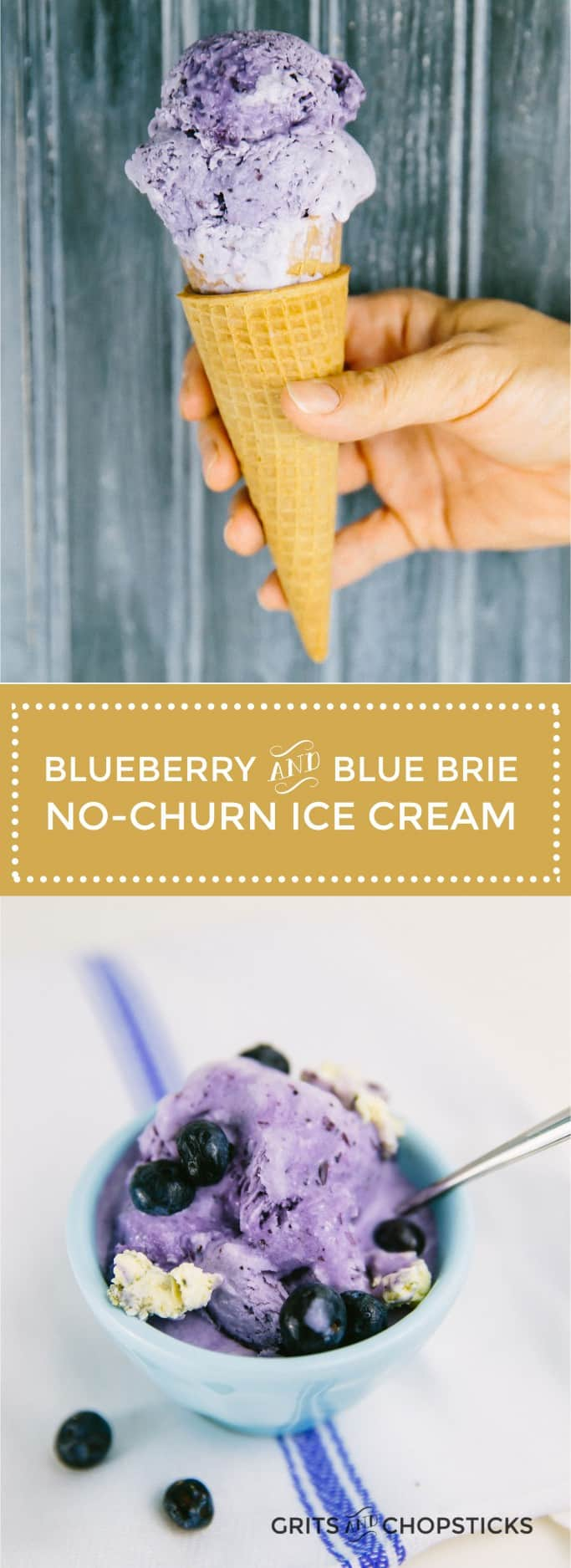 Castello Saga blue brie cheese and blueberry no-churn ice cream is easy to make and a surprisingly delicious combination of flavors