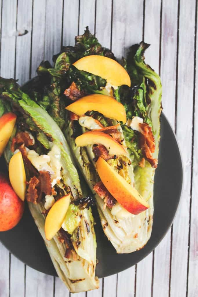 grilled romaine salad with peaches