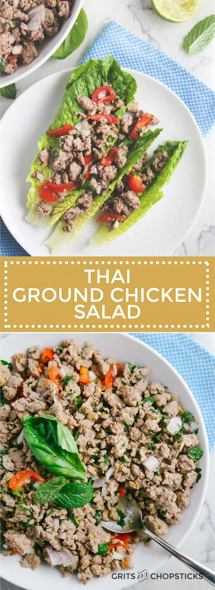Thai ground chicken salad served on top of crispy lettuce - a perfect Paleo/Whole30 meal!