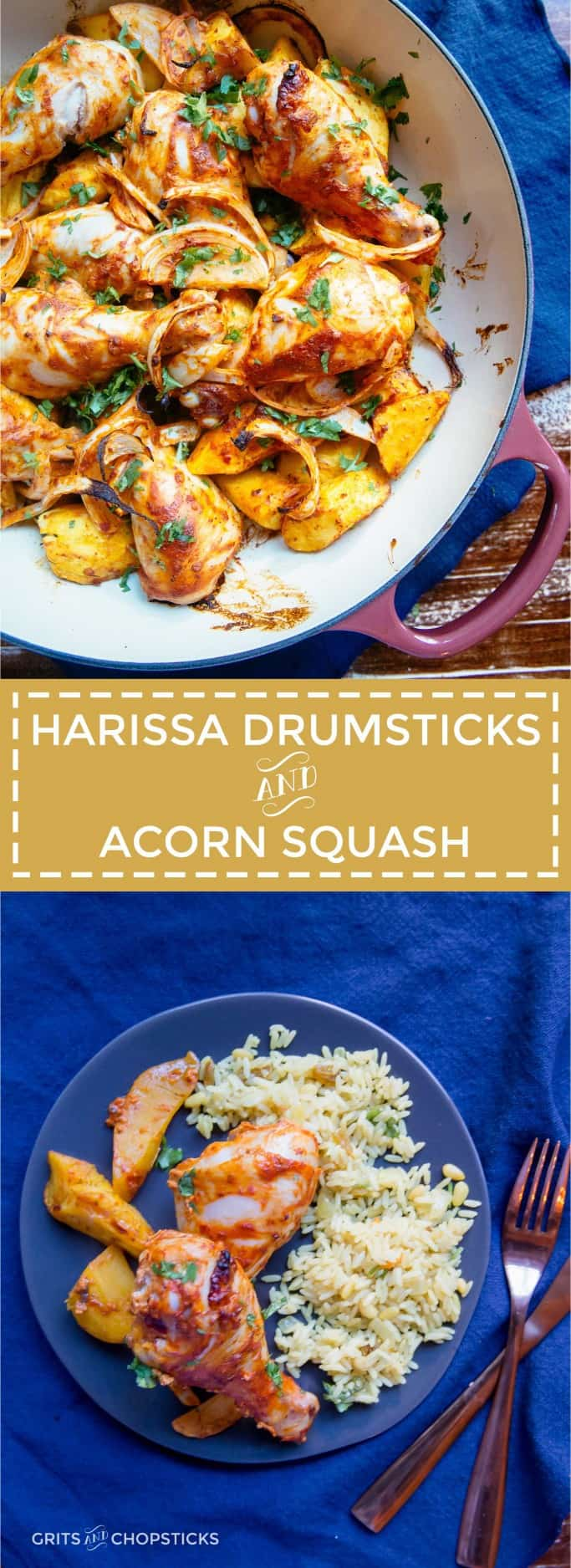 Harissa and yogurt marinated chicken drumsticks roasted along with acorn squash makes for an easy one-dish weeknight dinner with exotic spice and flair