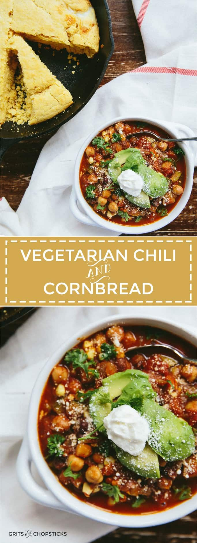 This vegetarian chili and skillet cornbread is perfect for cool fall weeknights!
