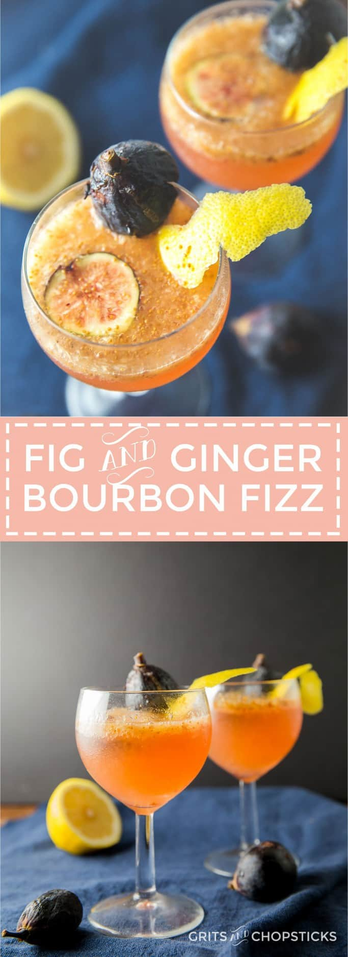 Ginger infused bourbon made by Virgil Kaine makes this fig and ginger bourbon fizz the perfect fall cocktail