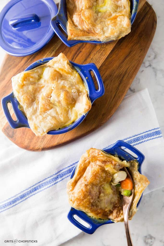 This recipe for chicken curry pot pie made with prepared puff pastry is an unexpected twist to an old classic -- it's great for fall dinners on weekdays