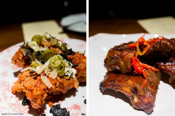 Fried chicken and ribs at Succotash Restaurant by Chef Edward Lee in National Harbor