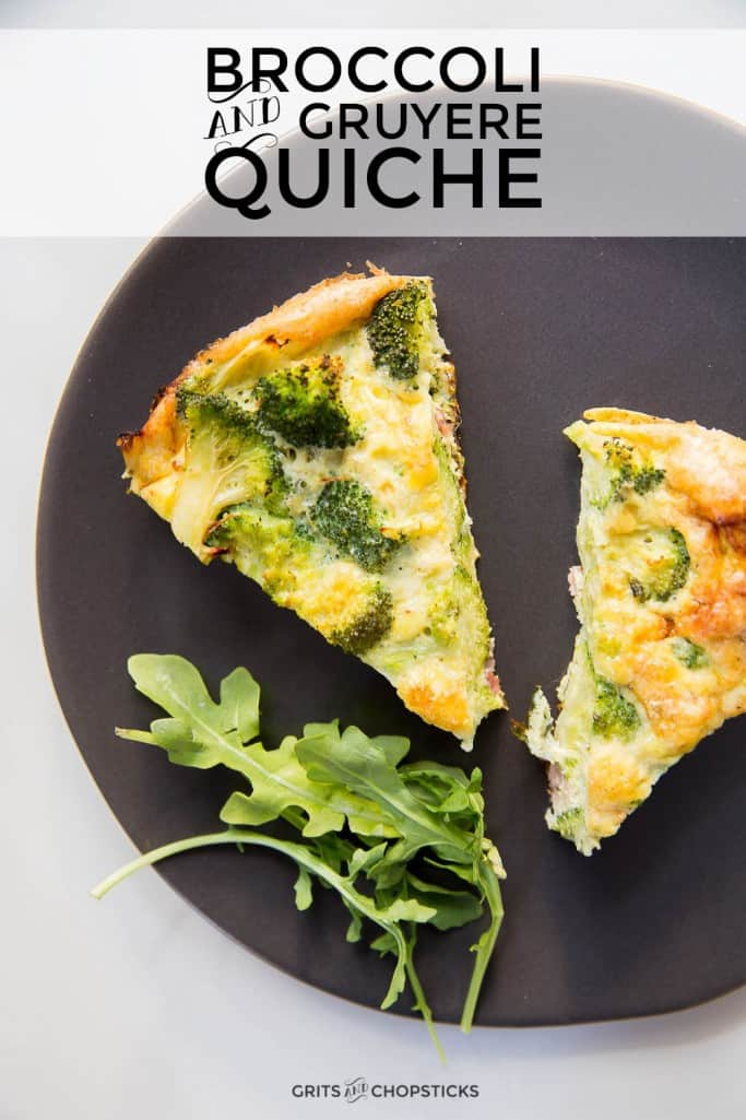 This easy broccoli and gruyere cheese quiche is an easy weeknight meatless dish