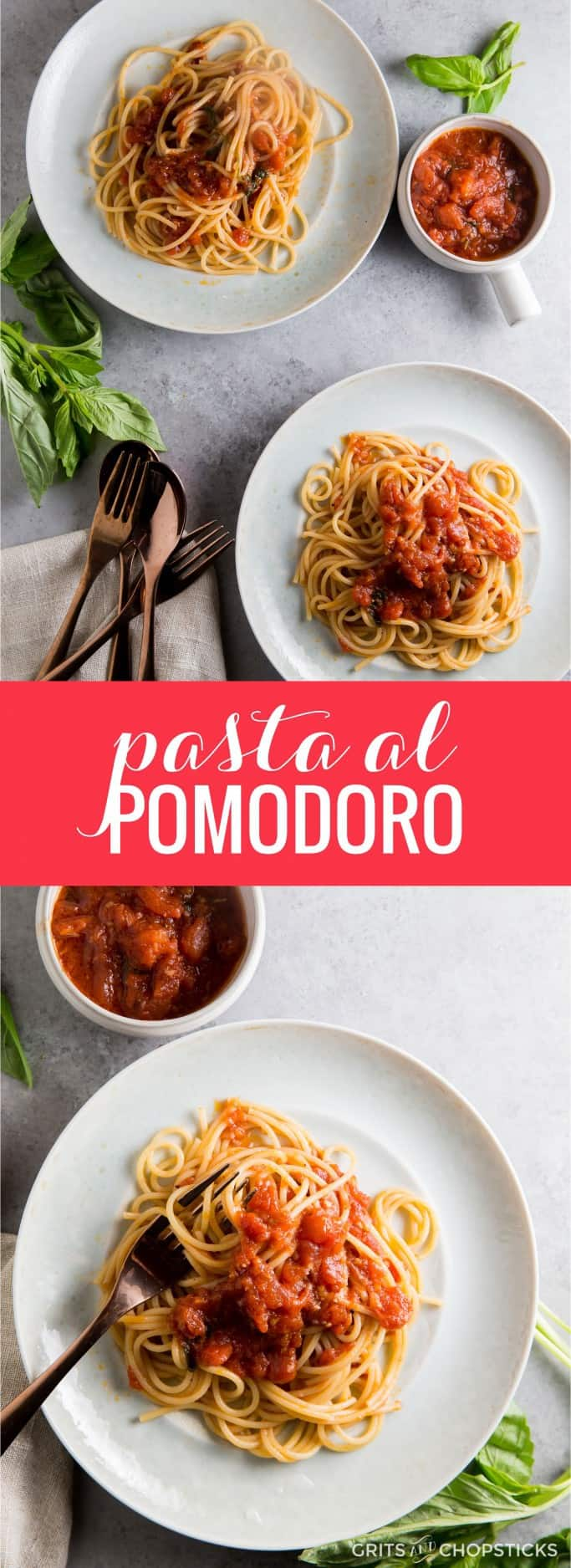 Pasta al pomodoro (pasta with tomato sauce) is a simple, rustic meal that is ready in less than 30 minutes. With a simple side salad, this is a great, filling weeknight meal