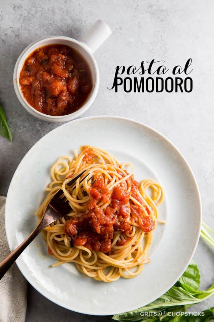 Pasta al Pomodoro is a simple, light spaghetti wrapped in an olive-oil saturated tomato sauce. It's a simple, satisfying meal that's perfect
