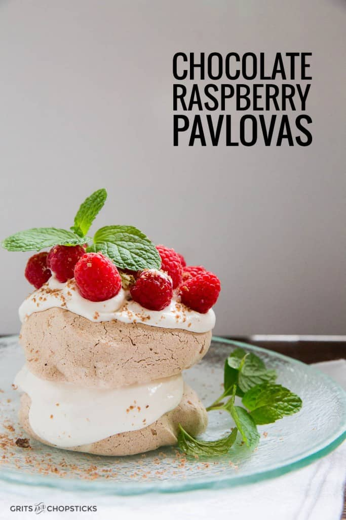 chocolate raspberry pavlovas with whipped cream are an easy, elegant dessert - try it for the holidays!