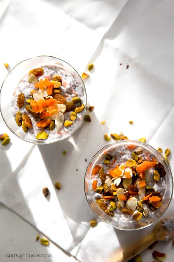 This Whole30/paleo Indian carrot halwa chia pudding makes a great breakfast or dessert