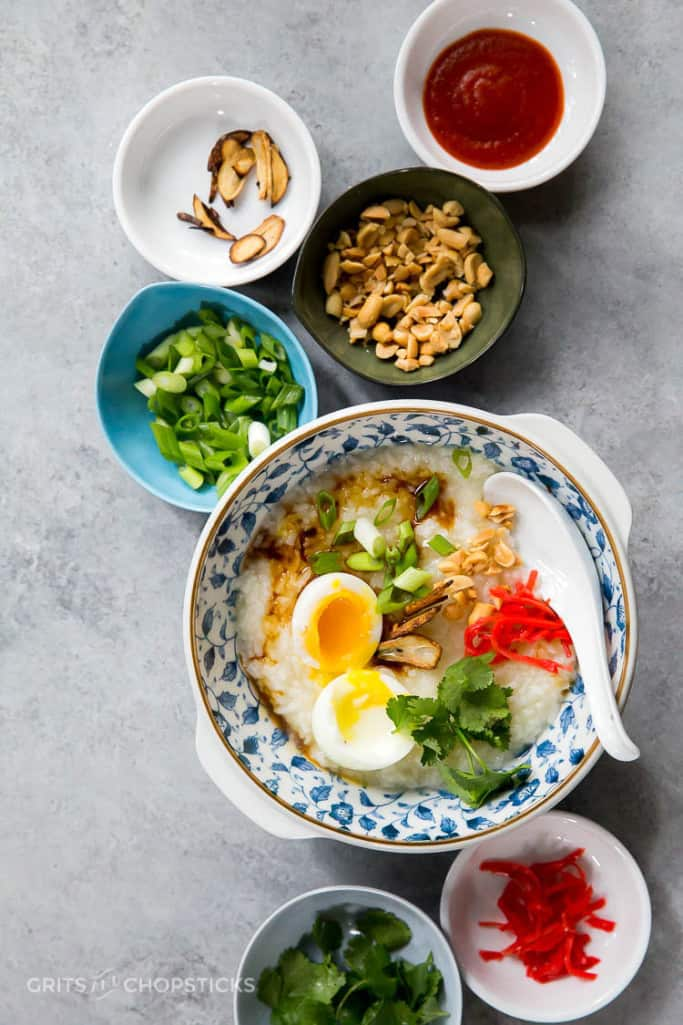 Congee, or Chinese rice porridge, and various toppings