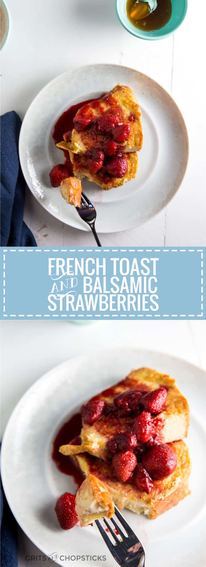 Strawberries simmered in balsamic vinegar make this custardy challah French toast. Try it already!