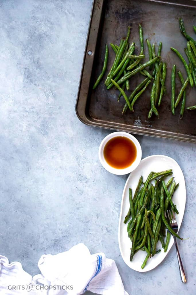 the best roasted green beans that only need time in the oven and some fish sauce