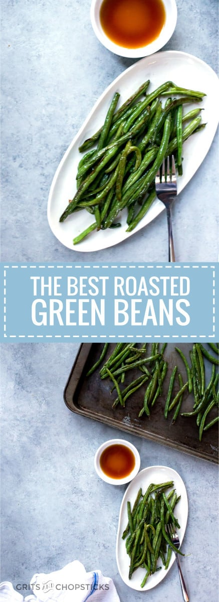 These easy roasted green beans are the BEST EVER -- roast in an oven topped with fish sauce and that's it!