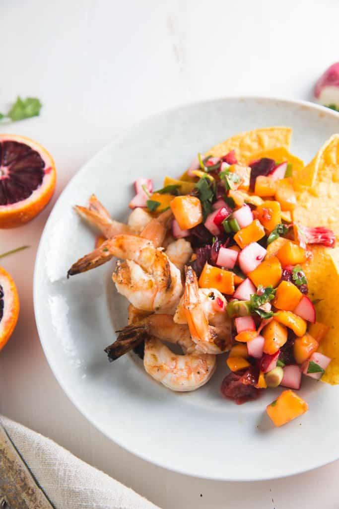 grilled shrimp with mango radish salsa