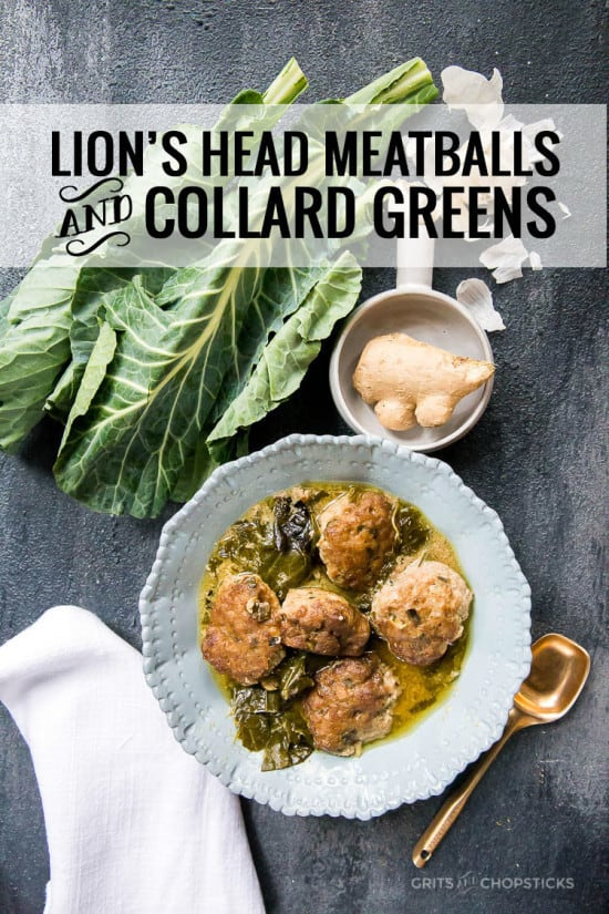 chinese lions head meatballs with collard greens