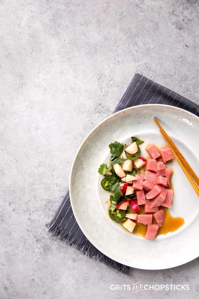 bluefin tuna sashimi with radish salad