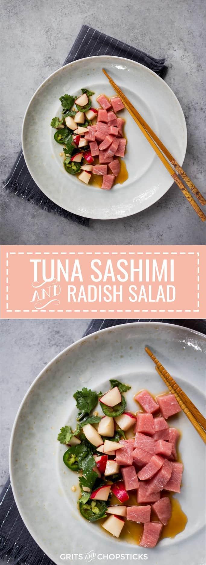 Tuna sashimi with radish salad flavored with homemade ponzu dressing, cilantro, scallions and jalapeno