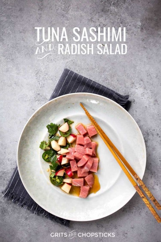 bluefin tuna sashimi and radish salad makes a unique lunch at home