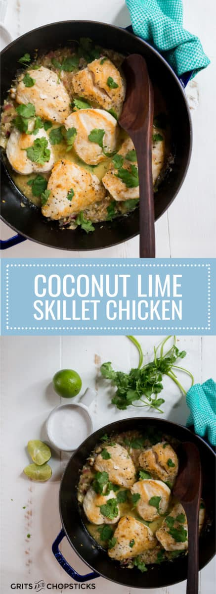 This one-pan coconut lime skillet chicken is made in a cast iron skillet and has Asian flavors with a Southern style of cooking. The best part is that it's Whole30/paleo too!