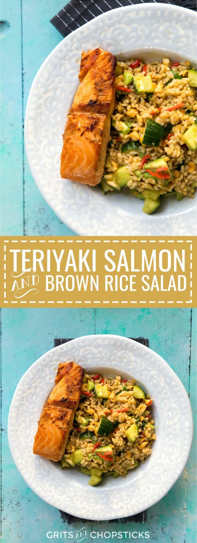 This teriyaki salmon and brown rice salad with cucumbers, avocados, peanuts and pickles is an easy Asian recipe for a weeknight meal