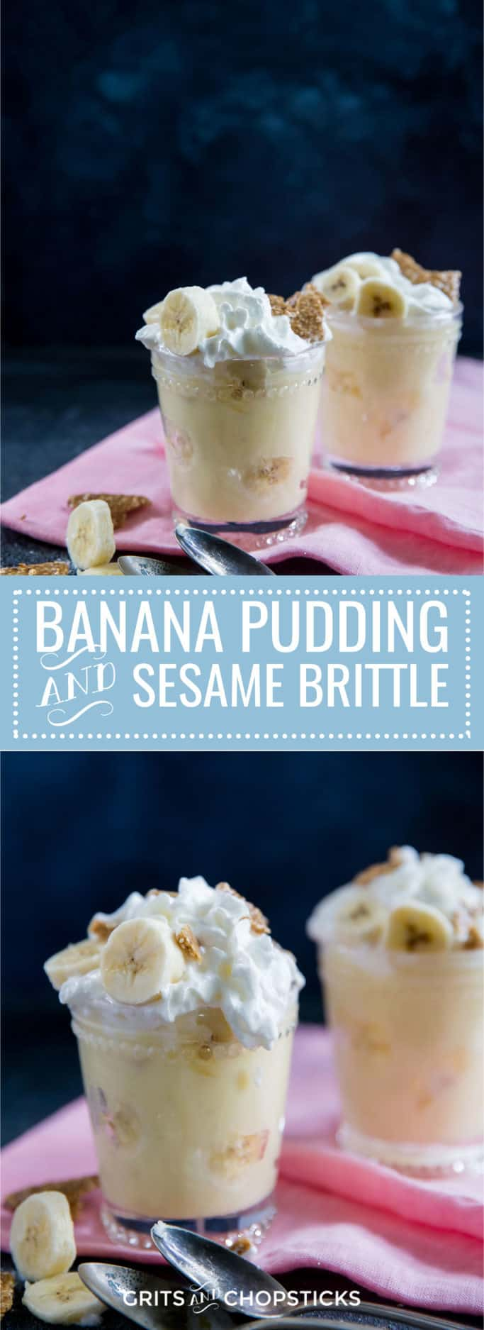 This Southern style banana pudding gets a modern twist with the addition of crunchy sesame brittle