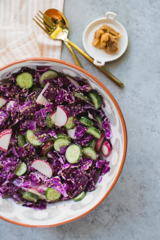 miso red cabbage slaw with radishes and cucumbers