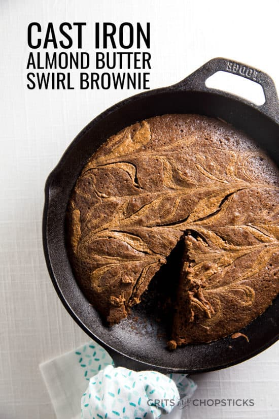 This cast iron almond butter swirl brownie is perfect for a crowd-pleasing dessert, and it's easy to make, too!
