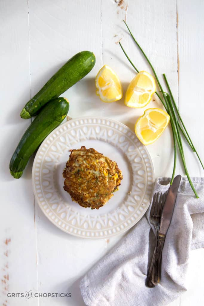 These zucchini and corn fritters are gluten free, paleo and vegan!