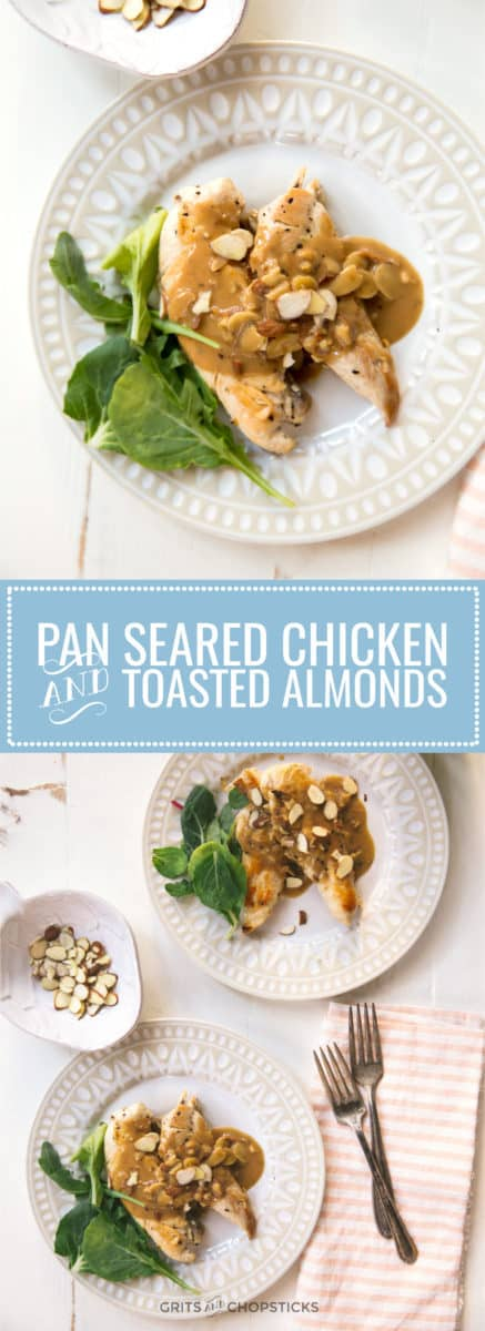 Try this pan-seared chicken breast with toasted almonds for a quick weeknight meal!