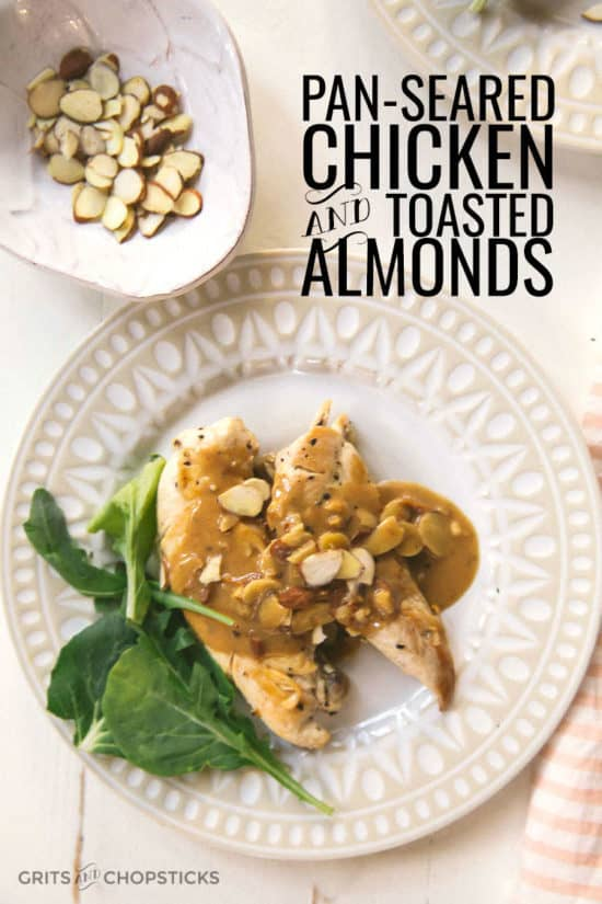 Pan-seared chicken with toasted almonds -- the sauce is made from pan drippings and mustard