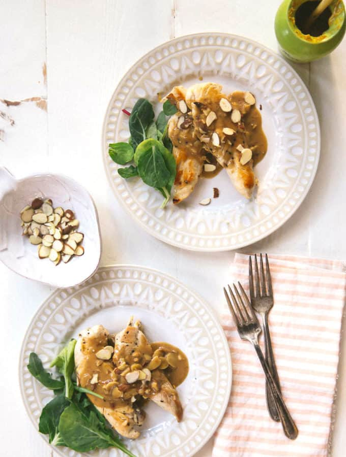 pan-seared chicken with toasted almonds