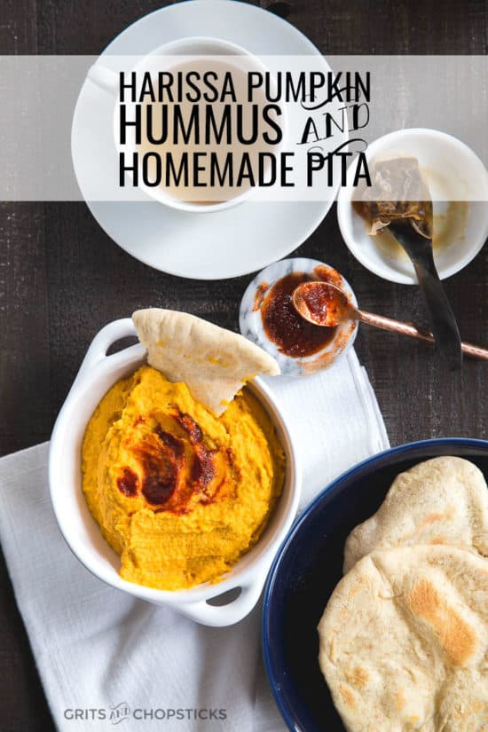harissa pumpkin hummus with homemade pita