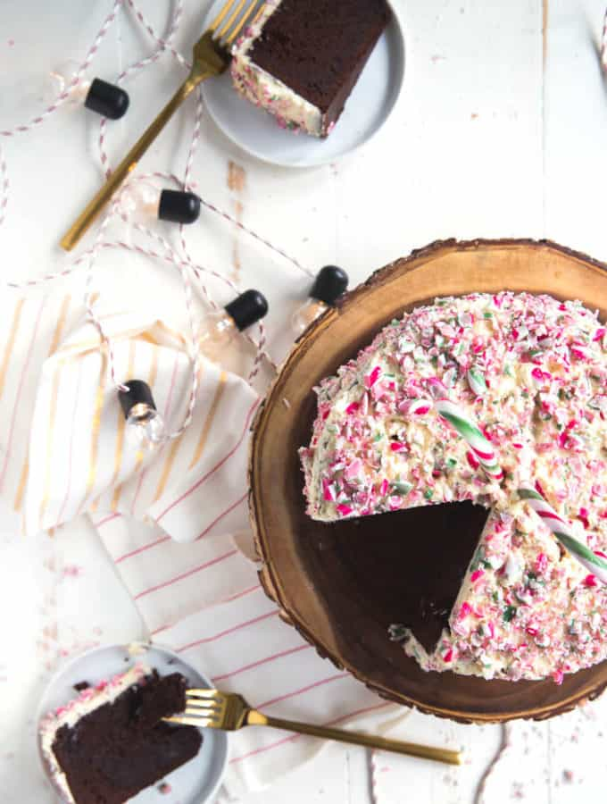 peppermint chocolate cake made easy with miss jones baking co.'s cake mixes!