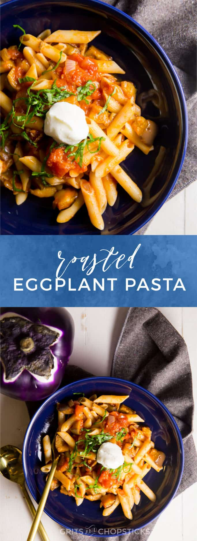 gluten free roasted eggplant pasta makes a light and quick weeknight meal