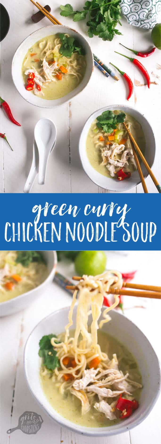 This amazing green curry chicken noodle soup recipe is easy to make and so super comforting