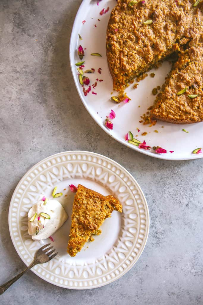 Spiced Carrot, Pistachio & Almond Cake with Rosewater Cream