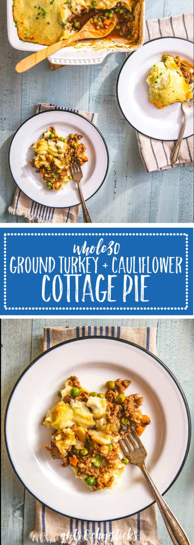 For a lighter comfort dish, try this Whole30 ground turkey and cauliflower cottage pie recipe -- it's a healthier take on a classic British dish of ground beef and mashed potatoes!