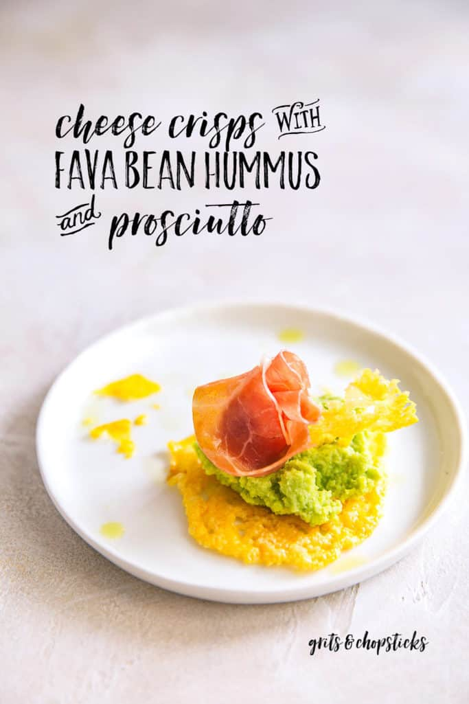 These cheese crisps with fava bean hummus and prosciutto are perfect for your next dinner party!