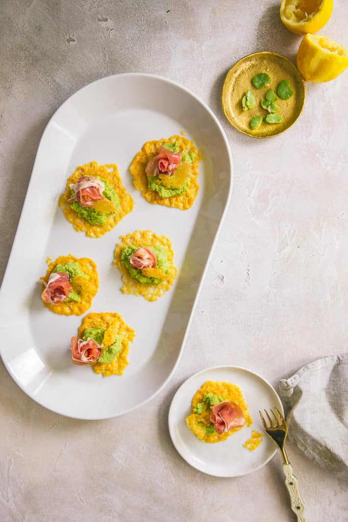 try these grana padano cheese crisps with prosciutto and fava bean pate for your next dinner party and wow your guests!
