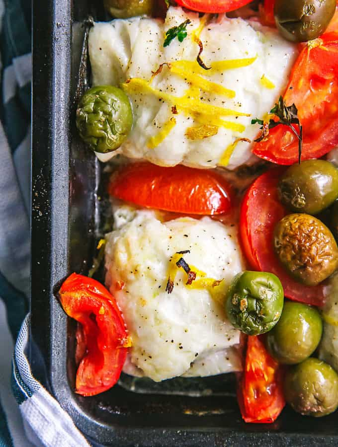 roasted haddock with olives and tomatoes (whole30, paleo)
