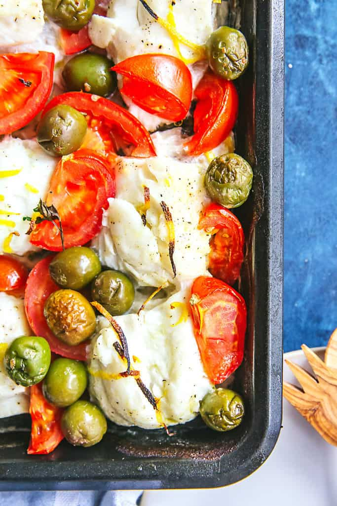 try this roasted haddock with olives and tomatoes for your next weeknight dinner. It's a one-pan dish, and super fresh! Whole30/Paleo, too!